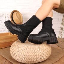 Elől cipzáros női fekete rövid szárú csizma