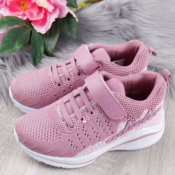 Tépőzáras szövet rózsaszín lányka sportcipő