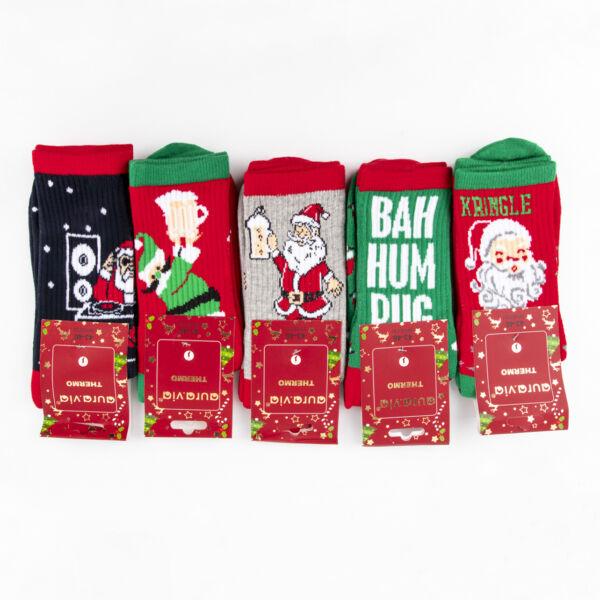 Férfi téli zokni csomag (5pár)-mikulásos