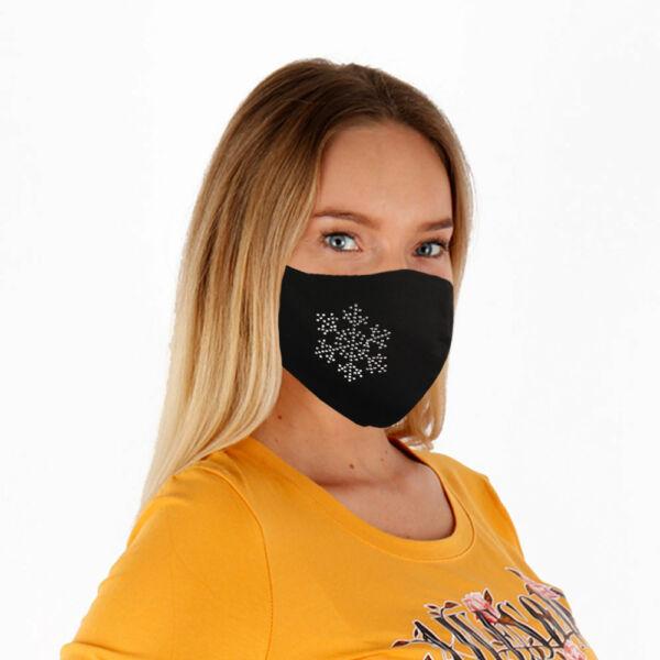 Textil arcmaszk-Hópehely strasszokból