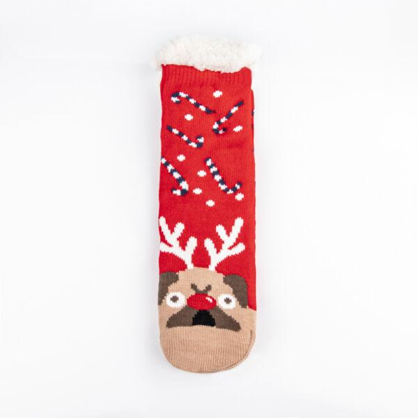 Téli, karácsonyi mintás, bundás női zokni