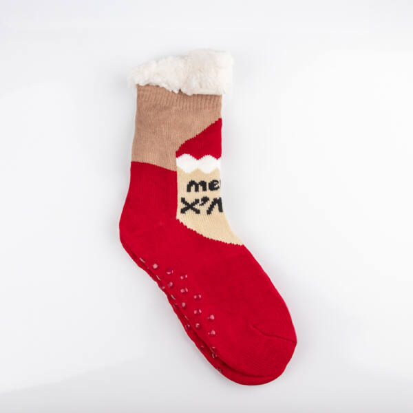 Téli, karácsonyi mintás, bundás férfi zokni