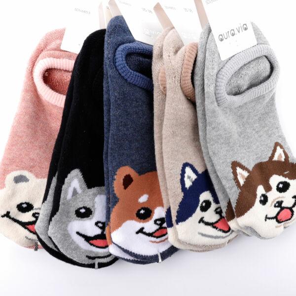 Női téli, rövid szárú zokni csomag (5db)-kiskedvences
