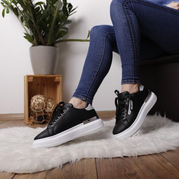 Platform fekete női sportcipő