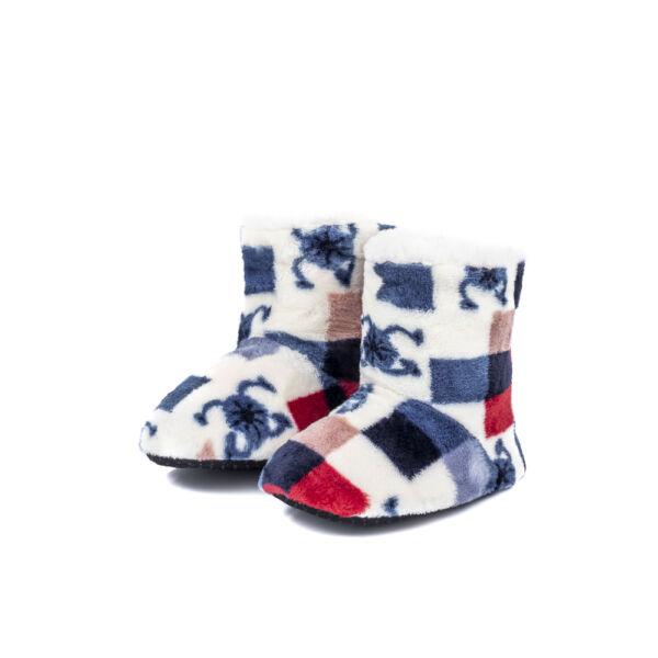 Gyermek, fehér színes mintás puha benti cipő