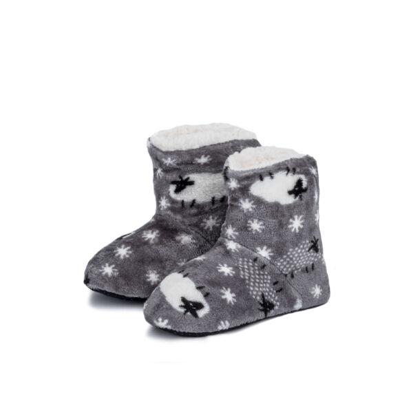 Gyermek, szürke-mintás puha benti cipő