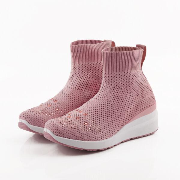 Női rózsaszín magas szárú strasszos zoknicipő