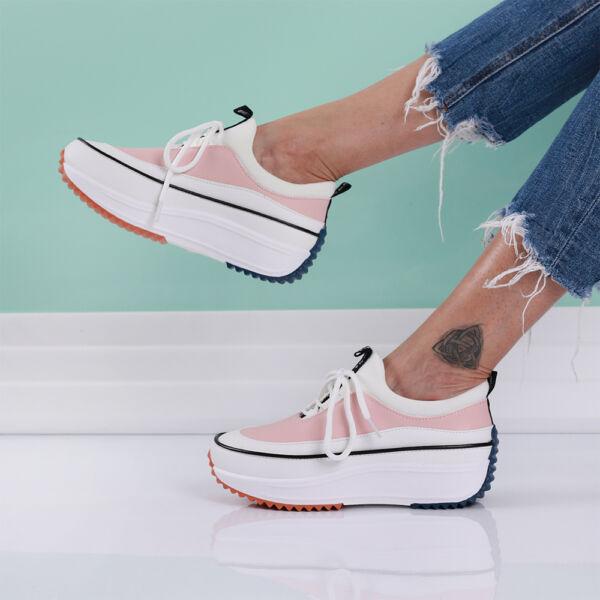 Női rózsaszín platform sportcipő