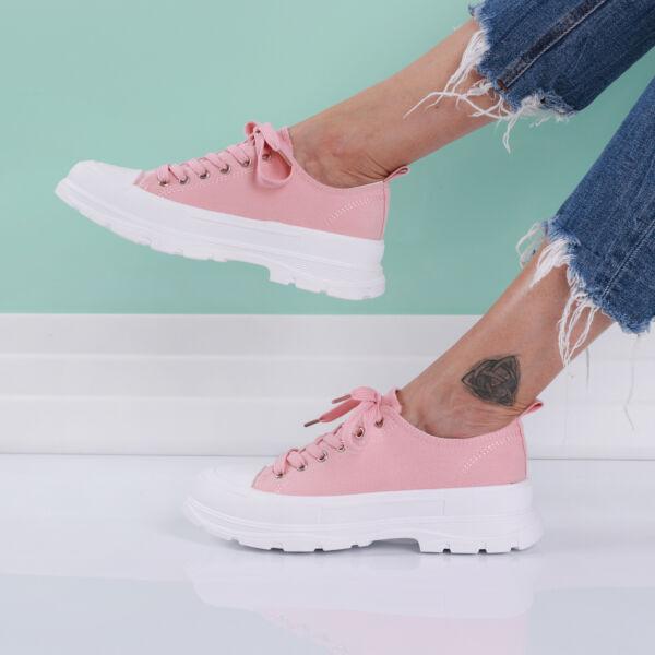 Női rózsaszín magasított talpú tornacipő