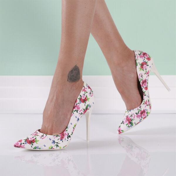 Női virágos alkalmi cipő