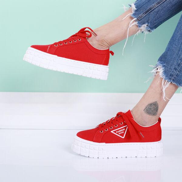 Női piros platform vászon sportcipő