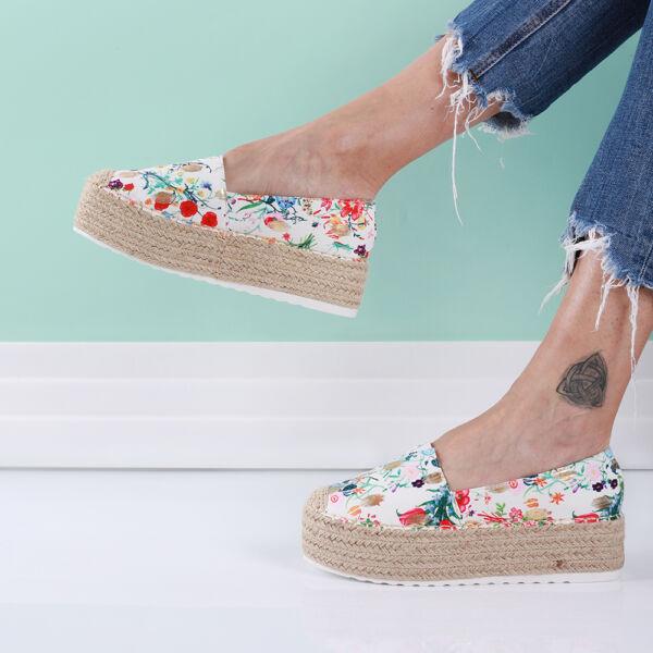 Női virág mintás platform utcai cipő