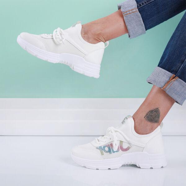 Női fehér sportcipő csillámos díszítéssel