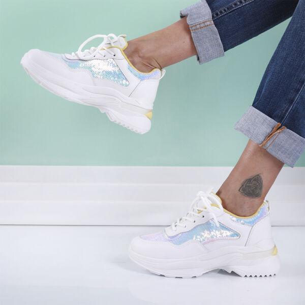 Női sárga-fehér flitteres sportcipő