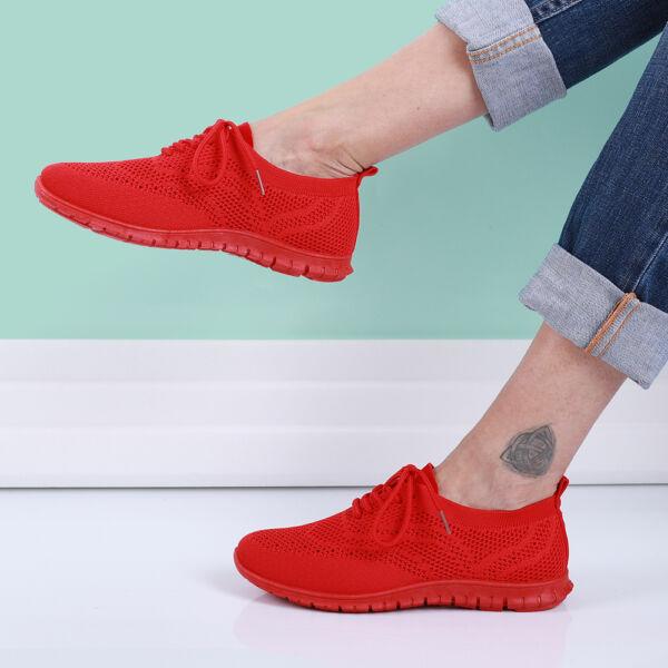 Női piros fűzős zoknicipő