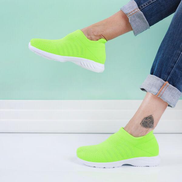Női neon zöld zoknicipő