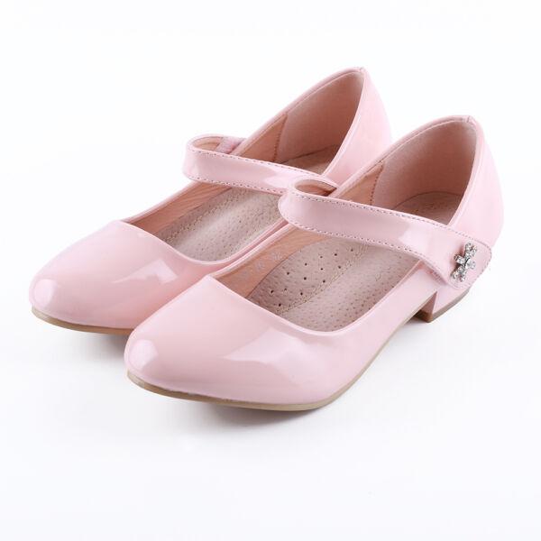 Lány rózsaszín alkalmi tömbsarkú lakkcipő