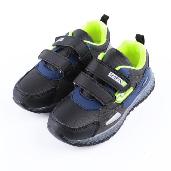 Fiú fekete-zöld sportcipő dupla tépőzárral
