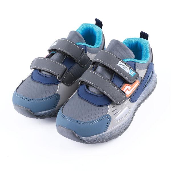 Fiú szürke-kék sportcipő dupla tépőzárral