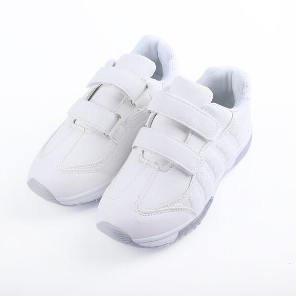 Lány fehér sportcipő dupla tépőzárral, légpárnás sarokkal