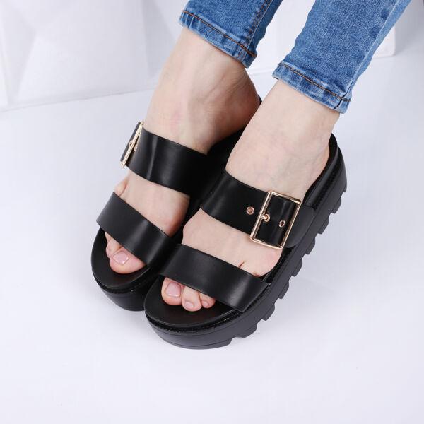 Női fekete platform papucs csattal