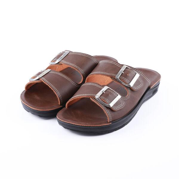 Férfi barna dupla csatos papucs