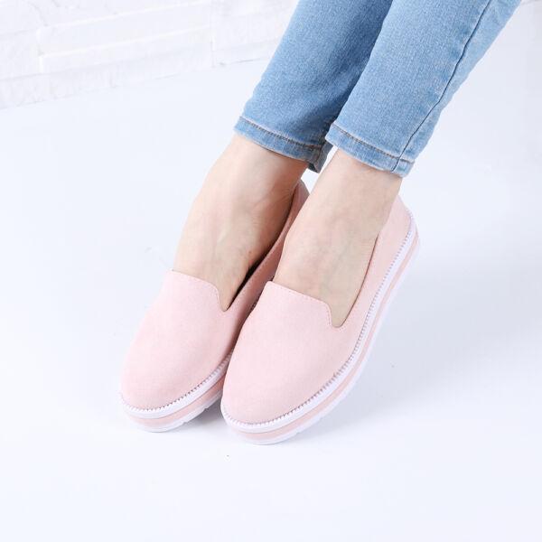 Női rózsaszín belebújós platformos cipő