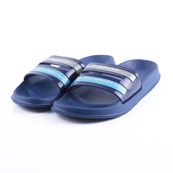 Férfi kék, világoskék-szürke csíkos gumipapucs