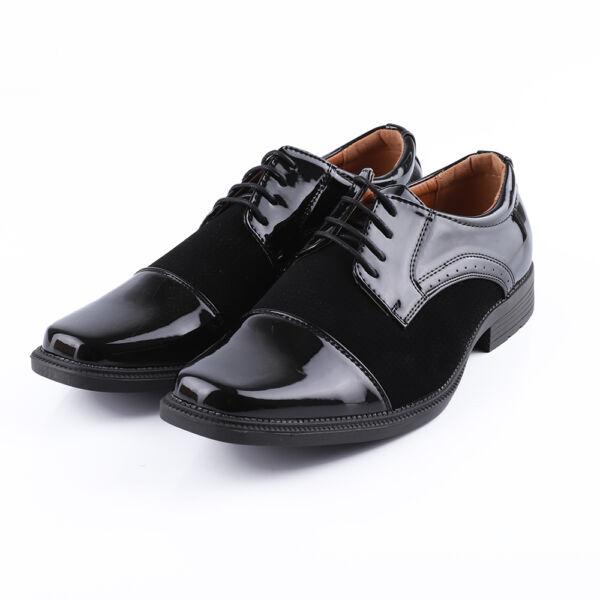 Férfi fekete alkalmi fűzős művelúr cipő, lakk díszítéssel