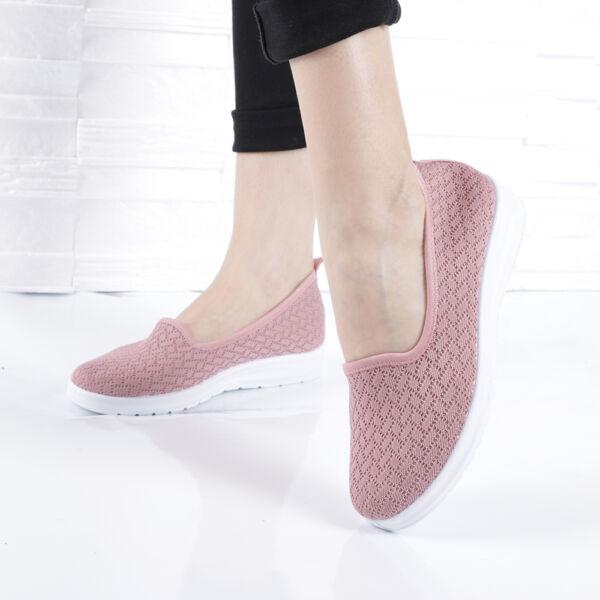 Női mályva csipke mintás belebújós utcai cipő
