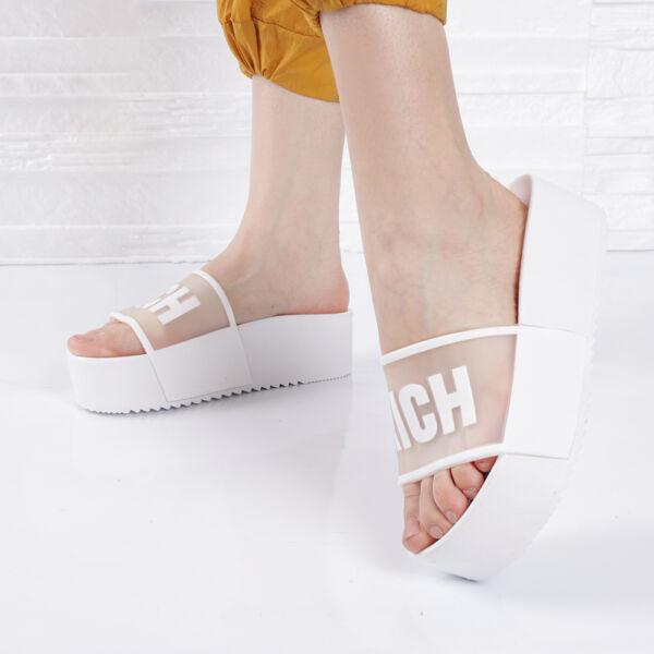 Női fehér gumi platform papucs