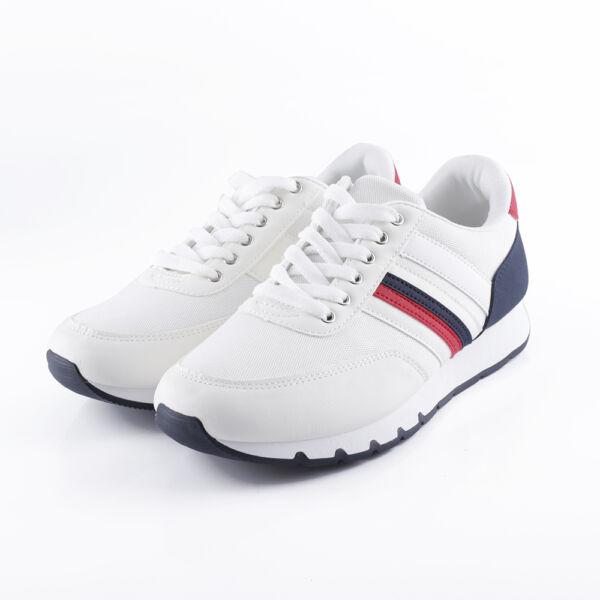 Vitorlás stílusú férfi fehér sportcipő