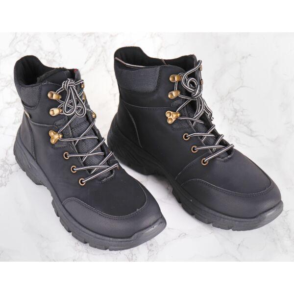 Fekete magas szárú férfi cipő bélelt %